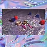 usongs Custom original design models pink sequined ring earrings retro steam exaggerated earrings - hand made