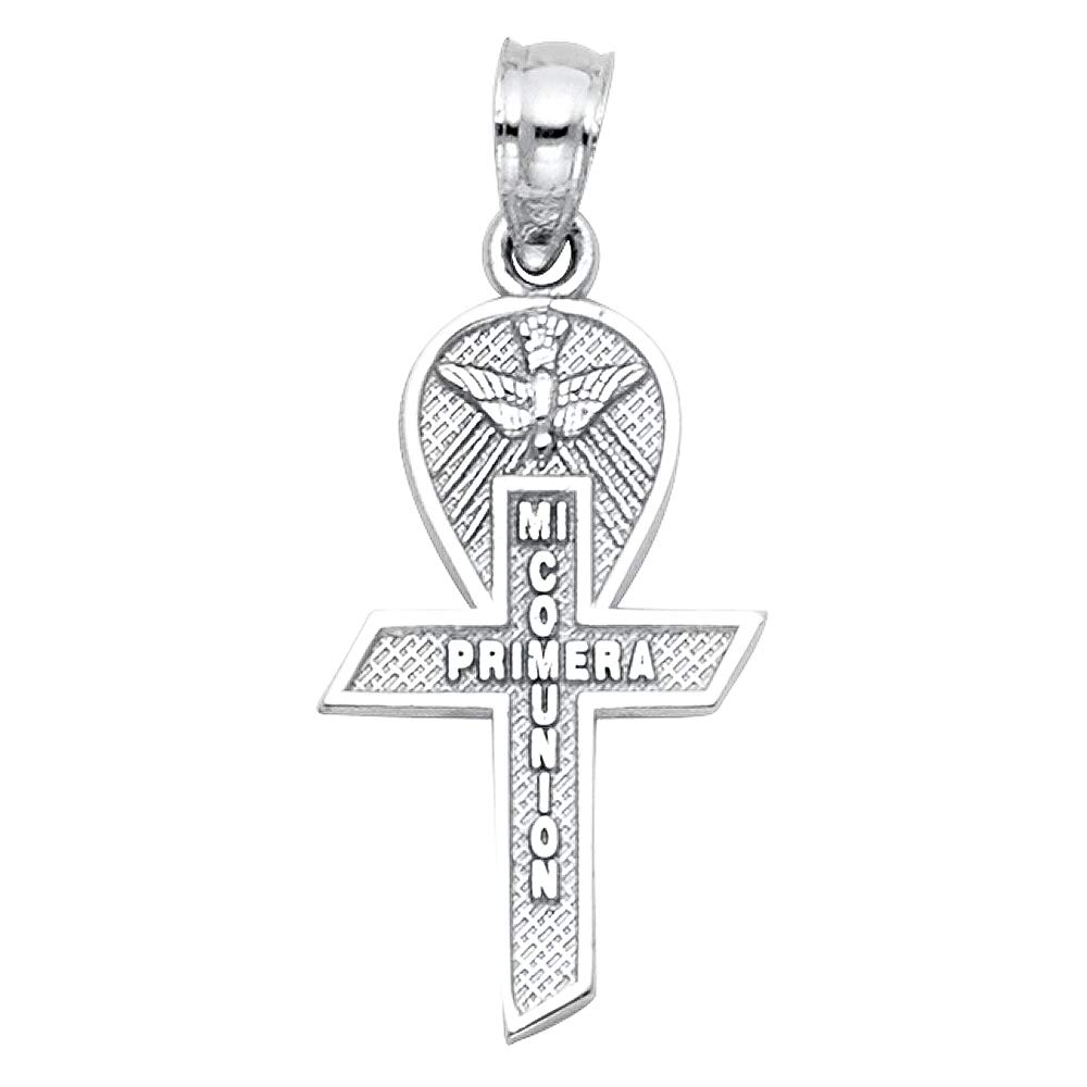 Wellingsale 14K White Gold Polished Milgrain Religious CommunionMi Primera Comunion Charm Pendant with Cross