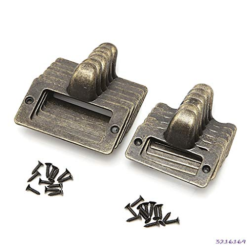 (6x Handle File Name Card Cabinet Label Holder Antique Brass Drawer Pull Frame - (Size: Size-S))