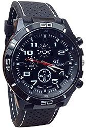DDLBiz Men's Racer Military Pilot Aviator Army Silicone Sports Watch (A) (White)