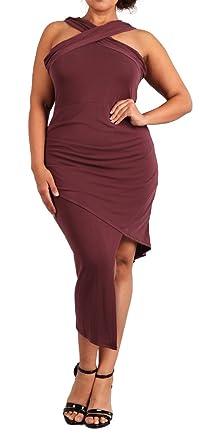 f5783bb12c92e eVogues Plus Size Sleeveless Asymmetrical Hem Dress Mauve at Amazon ...