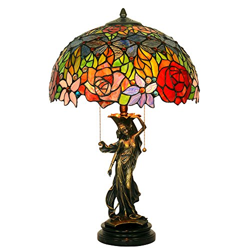 Bieye L10192 16-inches Rose Tiffany Style Stained Glass Table Lamp with 100% Brass Girl Base and Jade Bottom, 24-inch Tall (Red Rose)