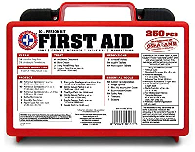 "Tactical First Aid Kit: ""Be Smart Get Prepared 250 Piece First Aid Kit, Exceeds OSHA ANSI Standards for 50 People - Office, Home, Car, School, Emergency, Survival, Camping, Hunting, and Sports "" from Be Smart Get Prepared"
