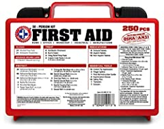 This Deluxe 250 piece First Aid Kit first aid kit from Total Resources is a necessity for the workplace and meets or exceeds all OSHA / ANSI 2009 types I and II requirements for small business. It is in a hard carrying case designed wi...