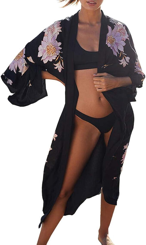 Damen Langarm Jacke Kimono Sommer Chiffon Floral Vintage Strand Strickjacke Top