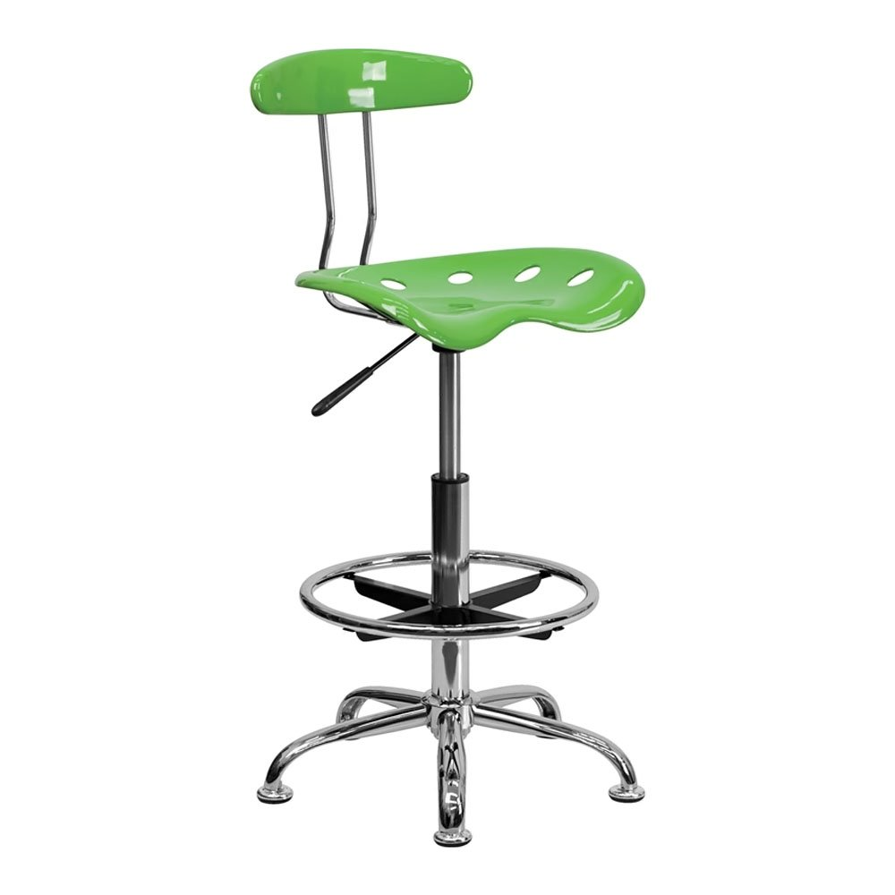 Offex Contemporary Sleek Vibrant Spicy Lime and Chrome Drafting Stool with Tractor Seat