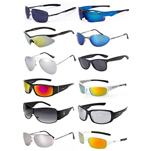 Wholesale Mens Assorted Sunglasses Dozen with FREE Soft Pouches ()