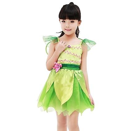 JINZFJG Disfraz de Hadas Campanilla Niñas Vestido Princesa Halloween, Verde, Small(2-