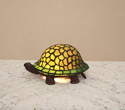 Stained Glass Tiffany Style Green Turtle Night Light Table Desk Lamp. Metal Base