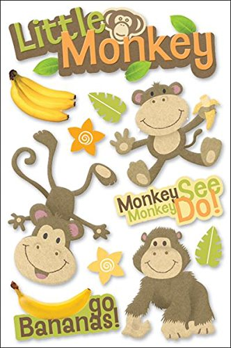 Phrases Cardstock Stickers Scrapbook - Paper House Productions STDM-0050E 3D Cardstock Stickers, Little Monkey (3-Pack)