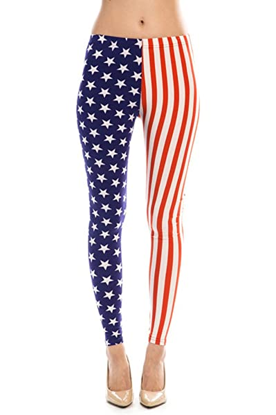 USA American flag Stars and Stripes women high-waisted cotton stretch leggings
