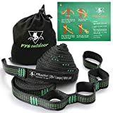 pys Hammock Tree Straps, 40 Loops& 20 ft Long Combined, 2000 LBS Heavy Duty, Lightweight, Easy Setup, Fits All Hammocks (Green,20+1)