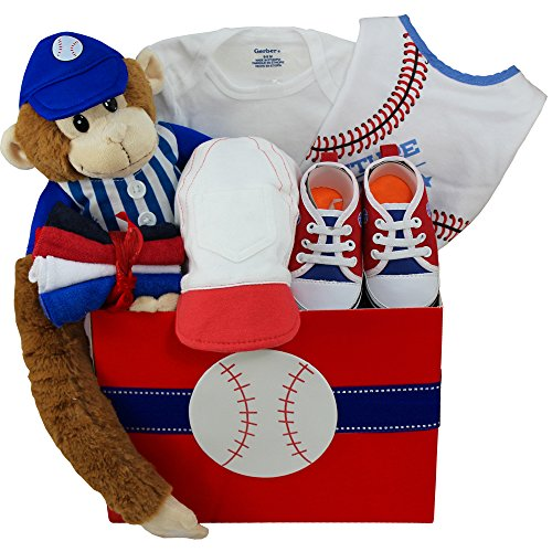 American All Star Baby Boy Baseball Gift Basket with Teddy (Baby All Star Memory Book)