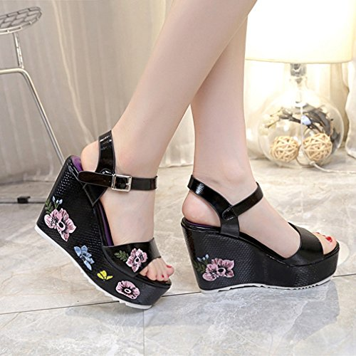Embroidery Ladies PU Women JULY Black Flower T Wedge on Slip Dressy Platform Leather Heels Peep Toe Girls Slippers Sandals High E1qYnnp