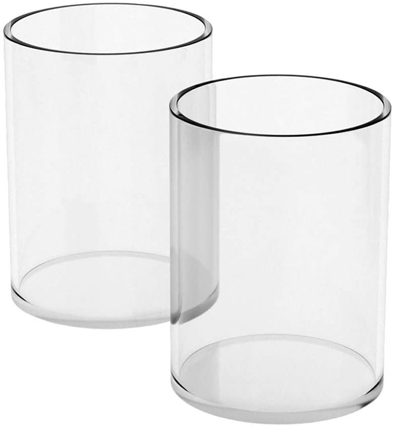 NIUBEE Acrylic Pen Holder 2 Pack,Clear Desktop Pencil Cup Stationery Organizer for Office Desk Accessory -Round