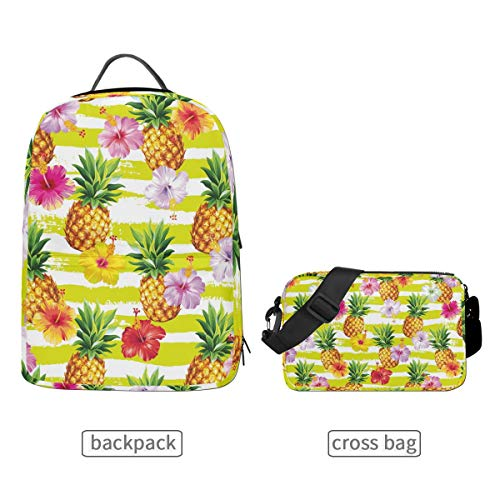 Yellow Hawaiian Pineapples Hibiscus Flowers Sprite Tropical Fruit Bloom Backpack Set Travel Daypack Shoulder Bags Crossbody School Laptop College Bag for Women Men 2 in 1 ()