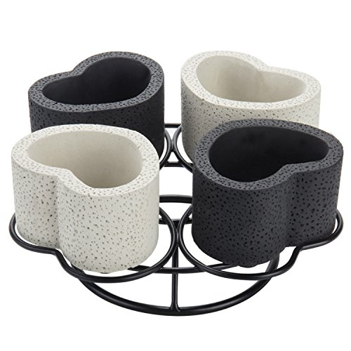 MyGift Black & White Heart-Shaped Tabletop Planter Set with Metal Stand