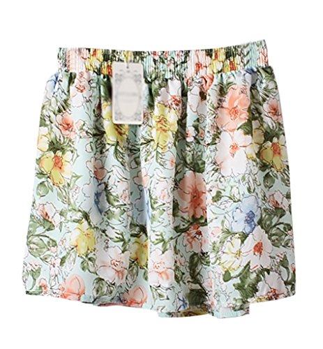 "Dardugo Women Girl Fashion Floral Chiffon Skirt Sexy Short Dress Waist:35.5""-39.4"" Length: 15"""