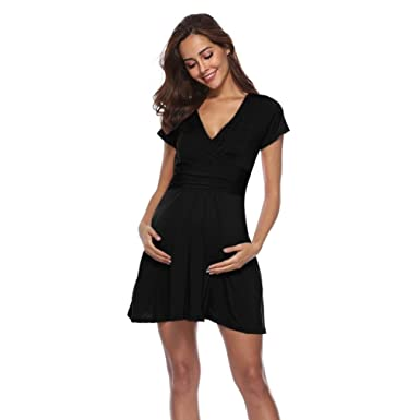 18faadcdef Halijack Dress for Pregnant Women Solid V Collar Short Sleeve Mini Dress  Loose Casual Knee-Length Daily Dress Nursing Baby Summer Beach Dresses  Maternity ...