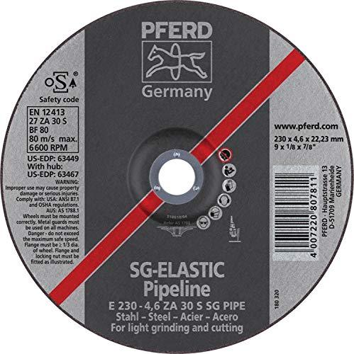PFERD 63449 9'' x 1/8'' Pipeline Wheel, 7/8'' AH (4.6mm) ZA 30 S SG-PIPE - (10pk)