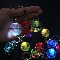 S-SO K9 Crystal 3D Eevee pokemon ball Night LED light keychain ring