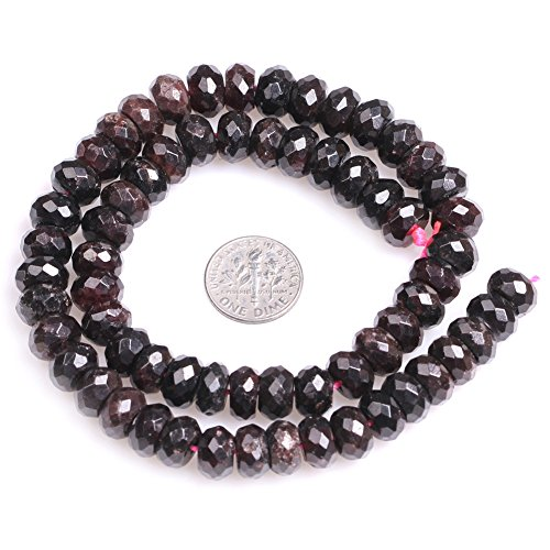 "Garnet Rondelle Spacer Beads for Jewelry Making Natural Semi Precious Gemstone 6x10mm Faceted Strand 15"" JOE FOREMAN"