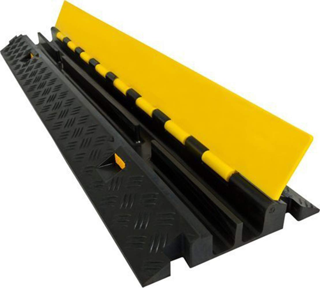 Electriduct Heavy Duty 2 Channel Cable Protector Traffic Wire and Hose Ramp 1.2 Inch Channels - Rubber Black Base/Yellow Lid