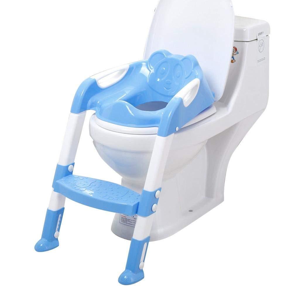 Ruikey siège de toilette pour bébé, pliable et anti-dérapant, reducteur de toilette avec marche pour les garçons et les filles - Rose