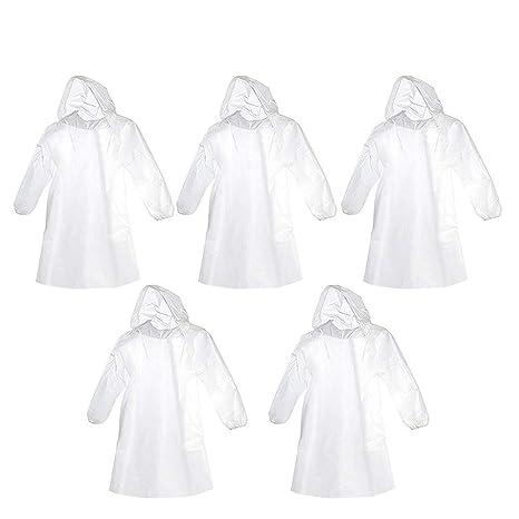 Bekleidung 5x Regen Poncho Regenmantel Notfall Regenjacke Regenponcho Jacke Mantel