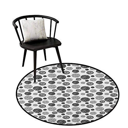 (Round Soft Area Rugs Abstract,Hand Drawn Circular Doodle Lines Dots Swirls Pattern Monochrome Simplistic Design, Black White,Diameter Circular Carpets for Office 24