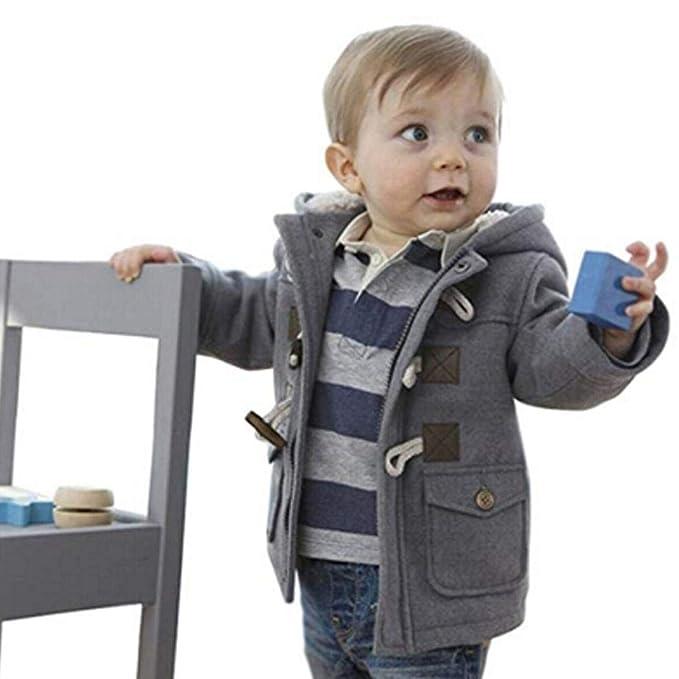 mymotto Chaqueta Abrigo Cálido Niño Niño Bebé Cuerno Hebilla Cremallera Espesar Ropa con Capucha Chaqueta de