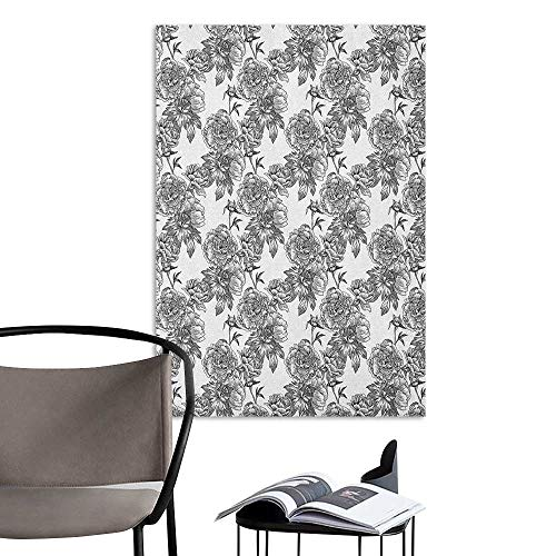 Self Adhesive Wallpaper for Home Bedroom Decor Floral Plant Blossom Spring Season Birth of Nature Monochrome Sketch Vintage Design Black Grey White TV Backdrop Wall W20 x H28