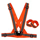 Reflective Highly Visible Safety Vest,Fully Adjustable & Multipurpose Reflective Gear for Running,Cycling,Dog Walking and Motorcycle Safety - Neon Orange