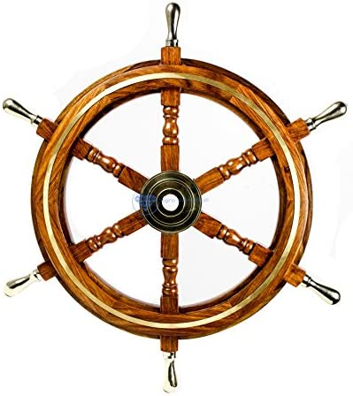 Nagina International Nautical Premium Sailor s Hand Crafted Brass Wooden Ship Wheel Luxury Gift Decor Boat Collectibles 24 Inches, Brass Ring Handles
