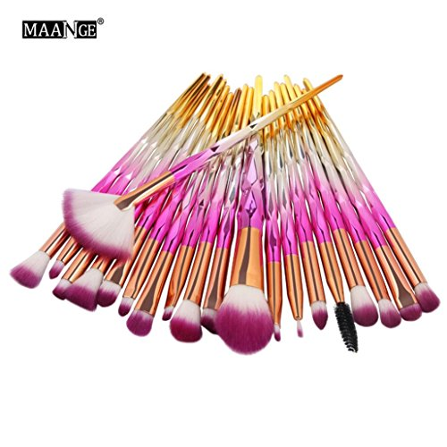 DMZing 20PCs Toiletry Make up Brushes with Glitters Handle Set Blending Shading Foundation Powder Contour Eyebrow Eyeliner Blush Concealer Cosmetic Tools (MKB-0D)