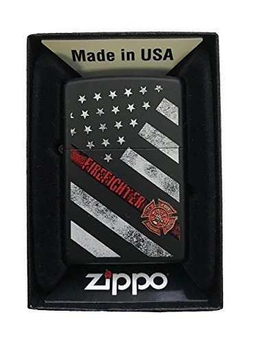 Zippo-Custom-Lighter-Red-Line-Firefighter-USA-Flag-Support-Black-Matte