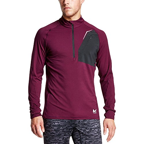 Mission Men's VaporActive Stamina Lightweight 1/4 Zip Long Sleeve Pullover, Potent Purple/Moonless Night, Large