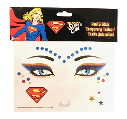 Super Girl Peel and Stick Jewels Face Tattoos -