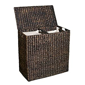 BirdRock Home Water Hyacinth Laundry Hamper Divided Interior (Espresso) | Eco-Friendly | Made of Hand Woven Hyacinth Fibers | Includes Two Removable Cotton Liners Bag | Wicker Laundry Basket with Lid