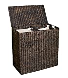 BirdRock Home Double Laundry Hamper Lid Divided Interior (Espresso) | Decorative | Eco-Friendly | Hand Woven Water Hyacinth Fibers | Two Removable Liners Bag | Dual Dark Wicker Basket
