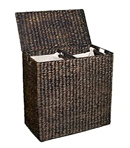 Amazon.com: BirdRock Home Double Laundry Hamper Lid Divided Interior (Espresso) | Decorative
