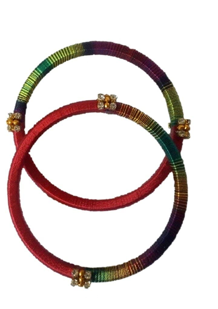 Mozhi's Handmade 2 4 size Silk Thread Bangles- Red, Pepsi Blue, Yellow with  Multicolour (2 number in each)