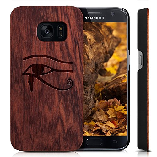 Wood Dead Eye - Case for Galaxy S7 SM-G9300 Case,YUANQIAN Slim-Fit Anti-Finger Print Phone Cases,Black PC & Real Wood Case Cover,Wood Design Case for Samsung Galaxy S7 [G9300](Dead Tree) (Rose Eye of Horus)