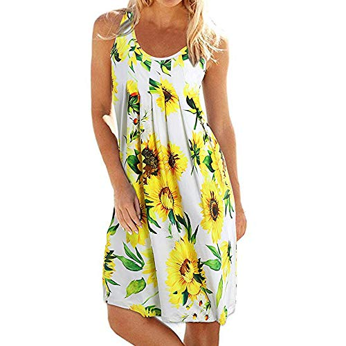Kalinyer Womens Summer Casual Long Sleeve Mini Printed Dresses Loose Ruffled Pleated Knee-Length Dress ()
