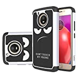 Moto E4 Case, LEEGU [Shock Absorption] Dual Layer Heavy Duty Protective Silicone Plastic Cover Rugged Case for Motorola Moto E 4th Generation (USA Version XT1768) - Don't Touch My Phone