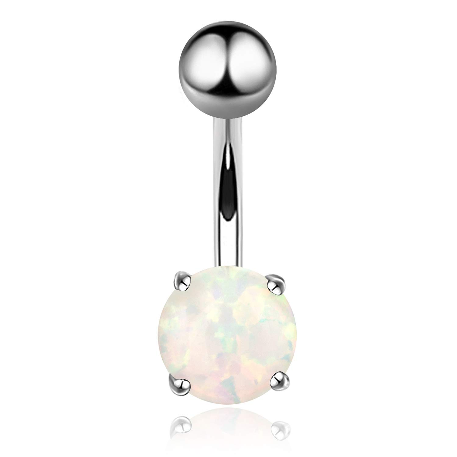 Silver kuyiuif 14G Opal Belly Button Ring Navel Barbell Rings 316L Surgical Steel Silver or Rose Gold Body Piercing Jewelry for Women Girls