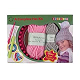 Loom Knitting Pattern Kit For Beginners - Hat Set - Pink Hat & Grey Pompom - BambooMN