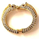 Kenneth Jay Lane, Vintage 2 Sided Horse Head All Over Crystal Gold Cuff Bracelet with Ruby Eyes, Last ONE!!