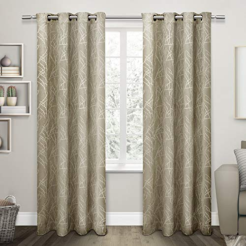 Exclusive Home Twig Insulated Blackout Grommet Top Curtain Panel Pair, Taupe, 54x84