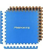 MSPORTS Zestaw mat ochronnych premium – 8 mat ochronnych 3,175 m² | ochrona podłogi 60 x 60 cm z końcówkami | grubość: 1,2 cm | maty puzzle, mata gimnastyczna